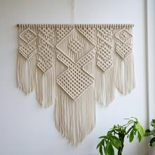 Macrame Woven Wall Hanging Handmade Cotton Bohemian Room Tapestry Art Beautiful Apartment Dorm Room Wedding Decoration 100x110cm braided leaf macrame woven tapestry wind chimes bohemian room decor wall hanging art beautiful apartment dorm room decoration