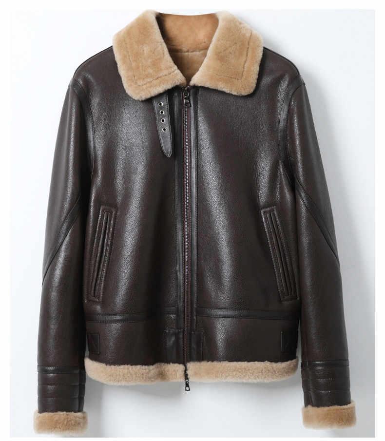 Kurtka skórzana naturalny płaszcz futrzany wełniany kurtka zimowa kobiety oryginalna kurtka z owczej skóry kobieta Streetwear kurtki-pilotki MY4592 s