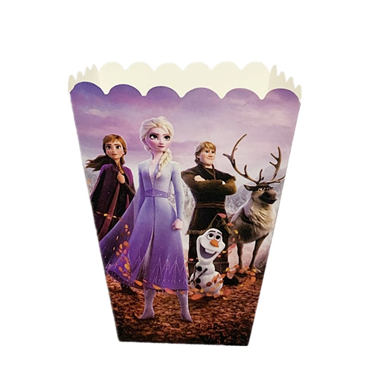 Frozen Anna And Elsa Princess Birthday Party Candy Box Popcorn Box Disposable Tableware Birthday Party Decorations Supplies