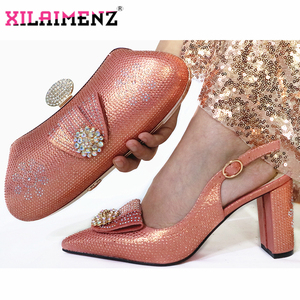 Image 3 - Onion Color Woman High Heels Sandals And Matching Bag Set For Party 2019 Hot Sale Italian Woman Shoes And Bag To Match Set