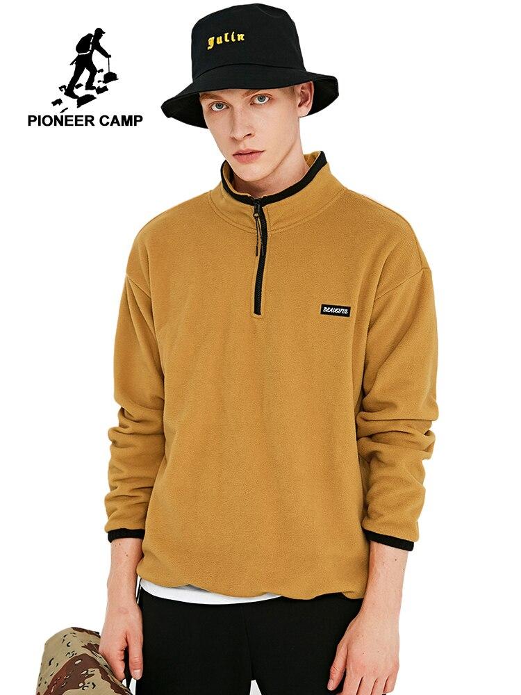 Pioneer Camp New Warm Fleece Hoodies Men Winter Zipper 100% Polyester Fiber Black Yellow Navy Sweatshirts Male AJK908194