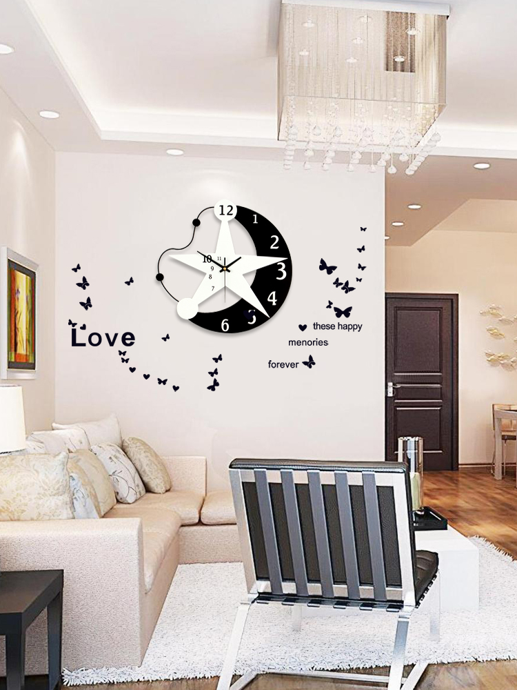 GH Wall Clock Living Room Creative Modern Design Minimalist Nordic Quartz Mute Personality Home Fashion Clock Decor