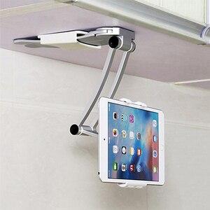 Universal Wall Desk Tablet Stand Digital Kitchen Mount Stand Fit 360° Rotating Tablet Metal Bracket Smartphones Holders(China)