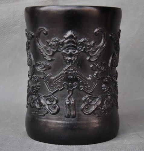 Old Chinese Rosewood Wood Engraving Wealth Auspicious Bat Brush Pot Pencil Vase