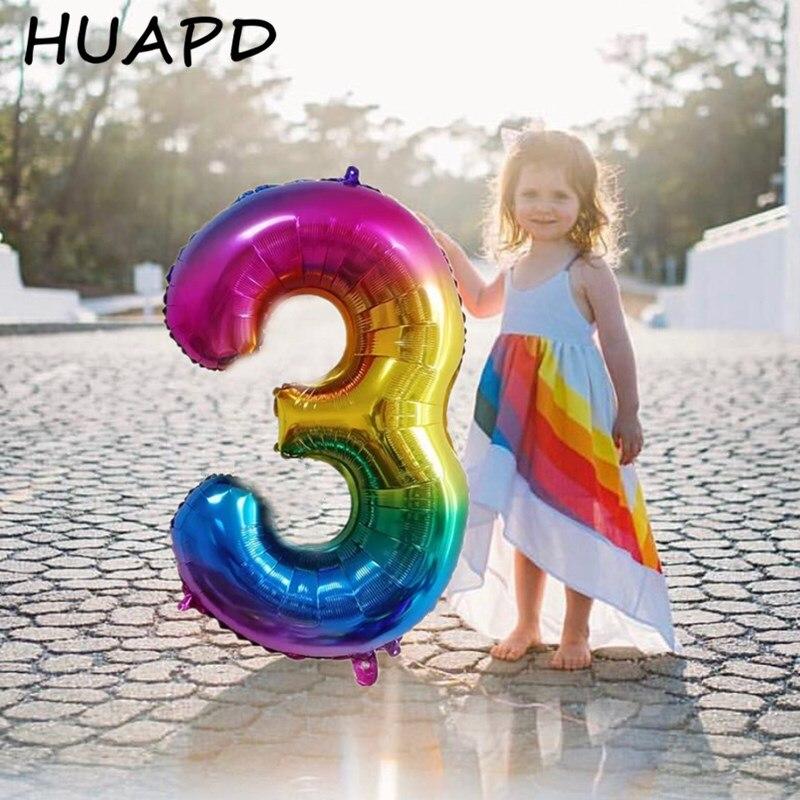 Большие радужные фольгированные шары с цифрами, 32/40 дюйма, 0-9 лет, украшения для дня рождения, детский Гелиевый шар для вечеринки в честь буду...