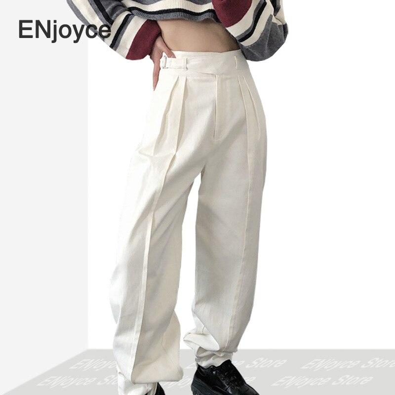 2020 New Vintage White High Waisted Jeans Women Streetwear Korean Denim Loose Legging Pants Female Jean Femme Cargo Trousers