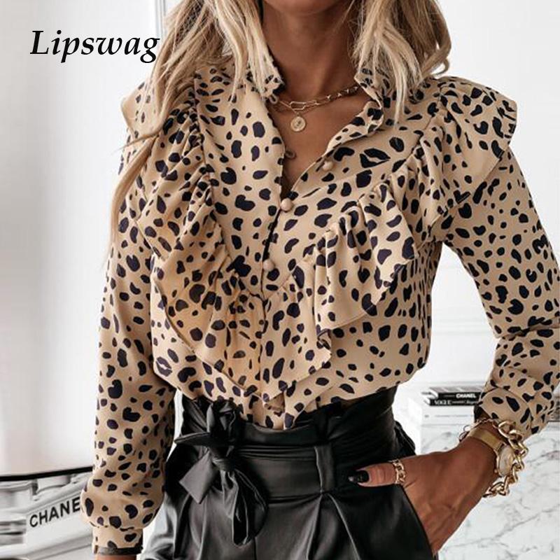 Casual Leopard Dot Print Ruffle Blouse Shirt Autumn Winter Long Sleeve Women Shirts Elegant Office Lady V Neck Button Tops Blusa