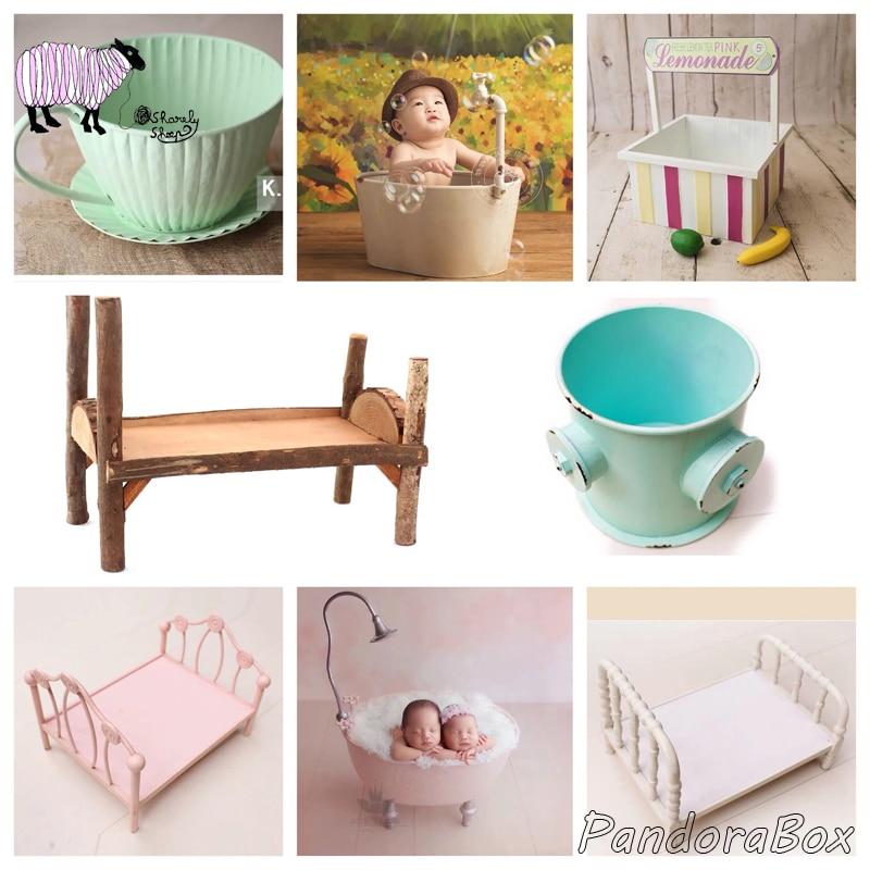 Baby Photo Shoot Iron Bed Bathtub Newborn Photography Props Infant Kids Shoot Basket fotografia Accessories Baby fotoshoot Prop