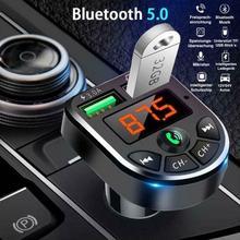Автомобильный Bluetooth 5,0 Fm-передатчик, беспроводной аудио приемник громкой связи, Автомобильный MP3-плеер А, автомобильные аксессуары с двумя ...