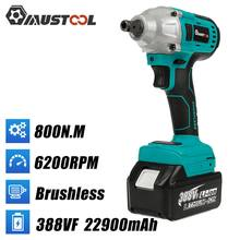 MUSTOOL 800N.m Brushless Electric Impact Wrench 1/2 Square Cordless Wrench 388VF Li-ion Battery Power Tools for Makita 18V