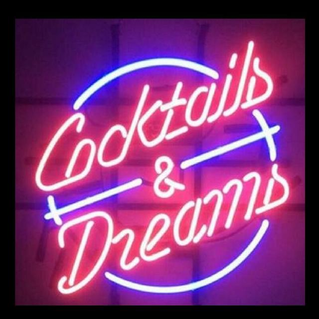 Cocktails personalizados e sonhos ping sinal de luz de néon de vidro