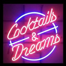 Custom COCKTAILS AND DREAMS PING Glass Neon Light Sign
