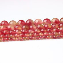 Linxiang factory store fashionable watermelon chalcedony loose beads suitable for DIY bracelet necklace jewelry as Amulet