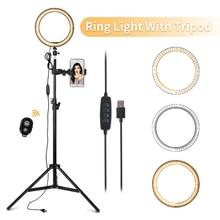 10 cal lampa pierścieniowa z stojak trójnóg filmu do aparatów lampa pierścieniowa LED lampa pierścieniowa do aparatu do fotografii studyjnej lampa z uchwyt na telefon komórkowy fotografia