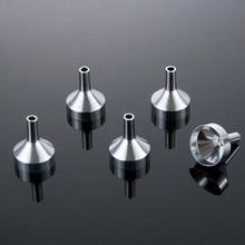 Mini embudos de Metal para rellenar botellas pequeñas, herramienta de dispensación de líquido, transferencia de recarga de Perfume, aceite esencial, 5 uds.