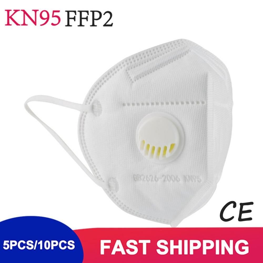 5-Layer Kn95 Mask With Valve, FFP2 FFP3 Face Mask With Breathing Valve Filter Respiratory Mask PM2.5 Filter Mask
