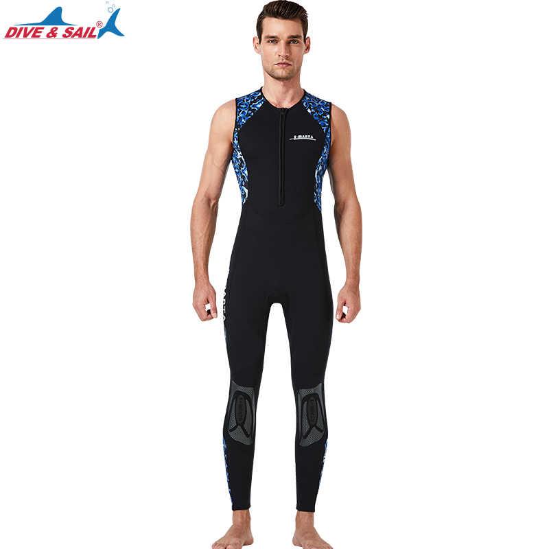 Erkek triatlon Wetsuit-kolsuz neopren dalış elbisesi (1.5mm kalınlığında) açık su yüzme Ironman uzun John Suit ön Zip