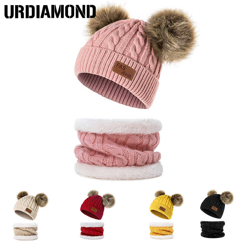 URDIAMOND Musim Dingin Topi untuk Bayi Perempuan Anak Laki-laki Pom Pom Topi Anak Rajutan Beanies Tebal Skull Cap Topi Bayi Balita Cincin Scarf
