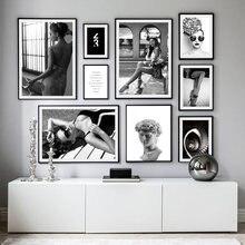 Czarny biały moda rzeźba kobiety cytaty obraz ścienny na płótnie Nordic plakaty i druki zdjęcia ścienny do wystrój salonu