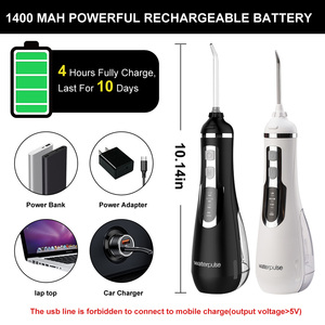 Image 5 - נייד אוראלי Irrigators USB נטענת מים Flosser שיניים מנקה 3 מצבי שיניים סילון מים 300ML מים טנק עמיד למים שיניים