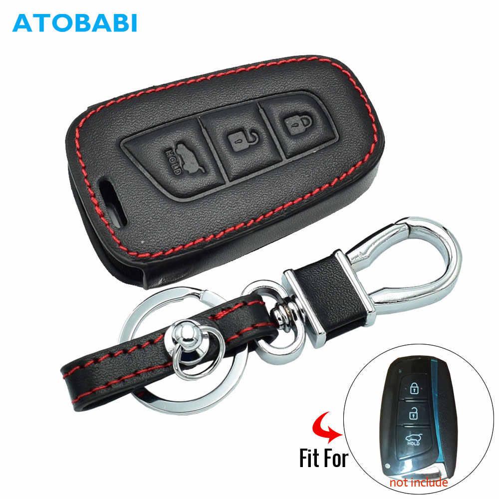 3 knop Lederen Auto Key Case Voor Hyundai Grote Santa Fe IX45 Smart Remote Fob Shell Cover Sleutelhanger Protector Bag auto Accessoire