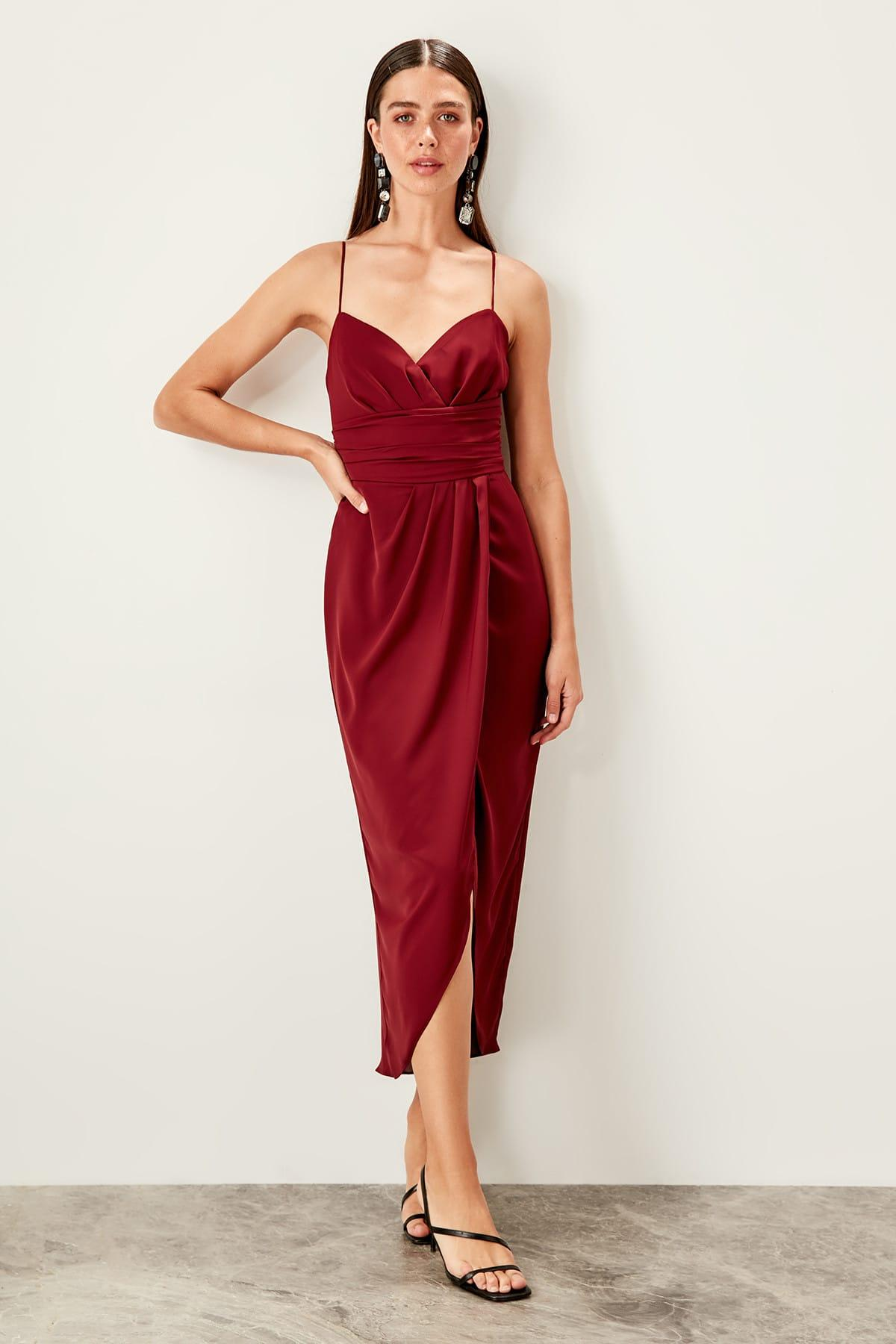 Trendyol Burgundy Rib Detail Dress TPRSS19BB0420()