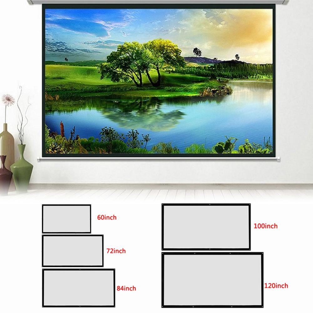120inch-60inch Projection Screens 3D HD Wall Mounted Projection Screen Canvas LED Projector for Home Theater Projection Screen