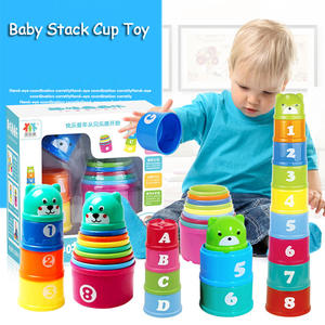 Baby Stacking Cup Toys Early Educational Intelligence Toy Rainbow Color Folding Tower Toys Set Children Birthday Christmas Gift