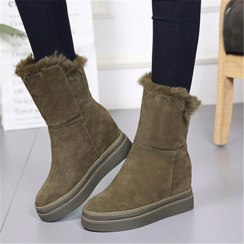 Women High Heels Booties Suede Platform Wedges Ankle Boots Ladies Winter Thick Plush Warm Snow Boots 8.5cm Increased Internal