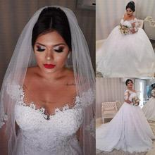 White Lace Appliques Plus size Wedding Dress 2021 Long Sleeves Lace Up Back African Wedding Gown Vestido De Noiva robe de mariee