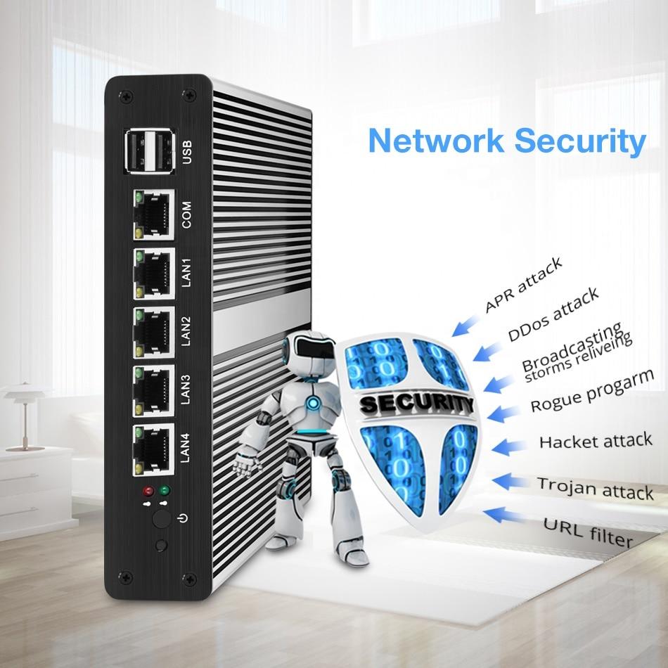 Fanless Mini PC Intel Celeron 1007U 1037U Processors 4*LAN Ports Intel NIC RJ-45  Firewall Router Run  RouterOS