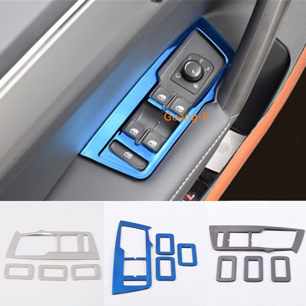 Steel Door Window Glass Panel Armrest Lift Switch Button Frame For Volkswagen VW TiguanL Tiguan MK2 2016 2017 2018 2019 2020 image