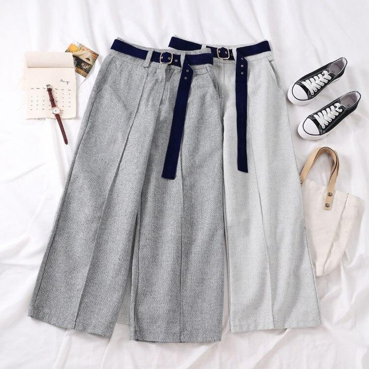 Fashion Korean   Wide     Leg     Pant   Trouser Women Casual Solid High Waist White Belt Formal   Pants   Female Gray Cotton Bottoms