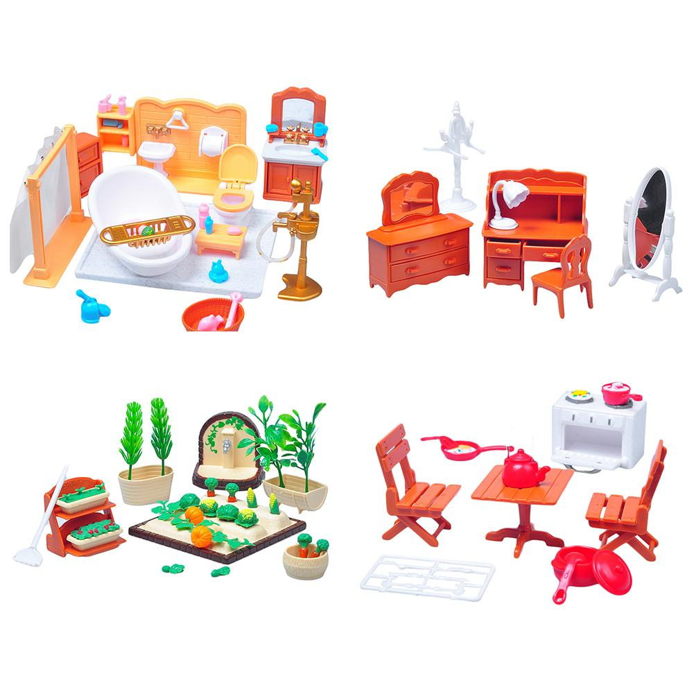 1 Set Dollhouse Furniture Toy 1/12 Scale Dollhouse Miniature Bedroom Bath Furniture DIY Scenery Accessory Toy Pretend Play Toy