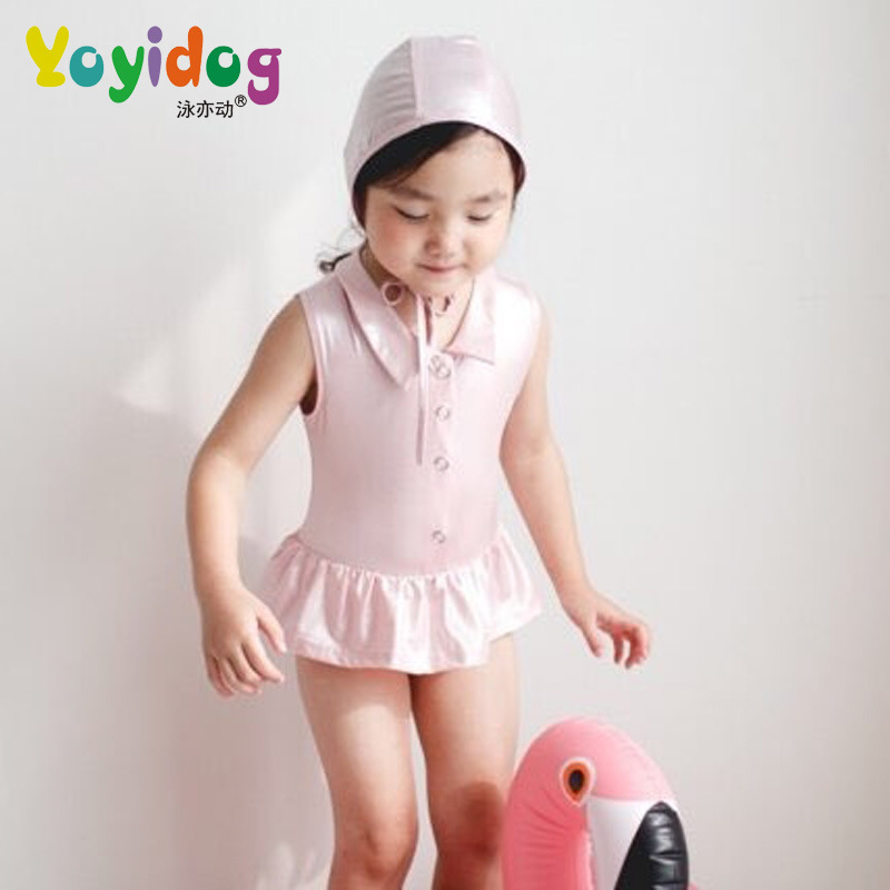 2018 New Style Hot Sales One-piece Swimming Suit Send Swimming Cap Solid Color Little Princess Sweet Cute Children Girls KID'S S
