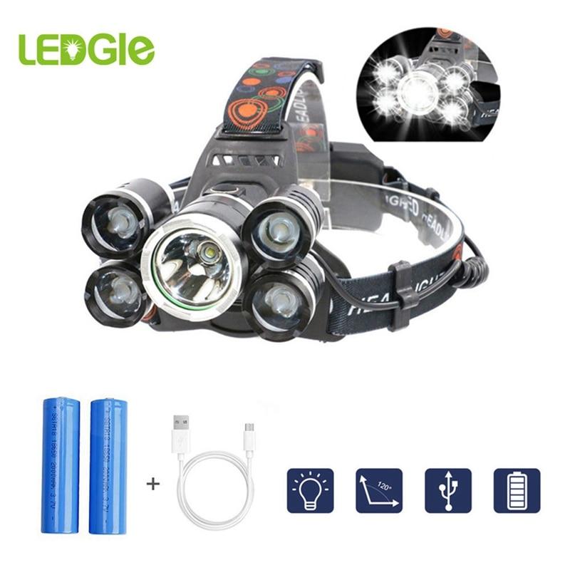 LEDGLE Ultra Bright Headlight USB Rechargeable Head Lamp 12000LM T6 Led Headlamp 5 Flashlight Waterproof Fishing Hunting 18650