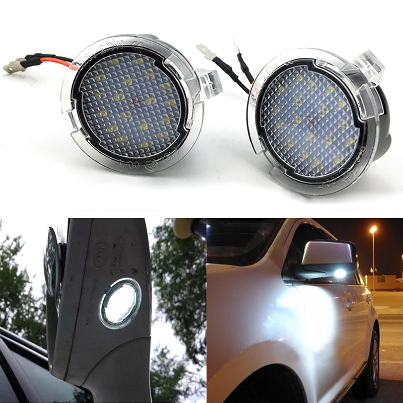 Niscarda Pair Side Mirror Puddle Lights For <font><b>ford</b></font> Edge <font><b>Fusion</b></font> Flex Explorer Mondeo Taurus F-150 Expedition Super bright Auto Lamp image