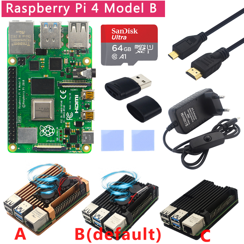 Original <font><b>Raspberry</b></font> <font><b>Pi</b></font> <font><b>4</b></font> <font><b>Modell</b></font> <font><b>B</b></font> Kit + Aluminium Fall + Kühlkörper + 3A Schalter Power + Micro HDMI option 64 32GB SD Karte | Reader image