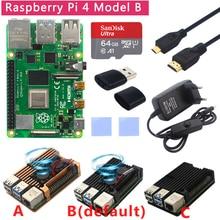Оригинальный Raspberry Pi 4 Модель B комплект + алюминиевый чехол + радиатор + 3A переключатель питания + Micro HDMI вариант 64 32 Гб SD карта   Ридер