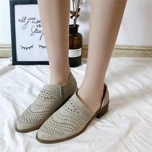 Image 3 - Fretwork sapatos femininos primavera outono baixo chunky salto apontado lado zip bombas de tornozelo curto sandálias oco para fora sapatos retro