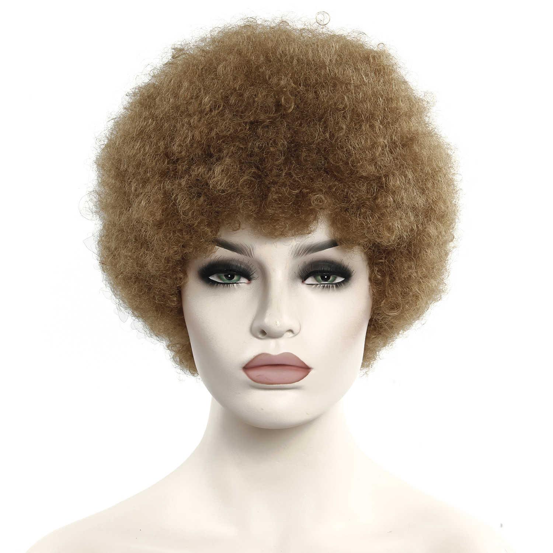 Peruka afro męskie kręcone włosy brązowe syntetyczne Retro peruki dla kobiet puszyste peruki dla kobiet czarne włosy