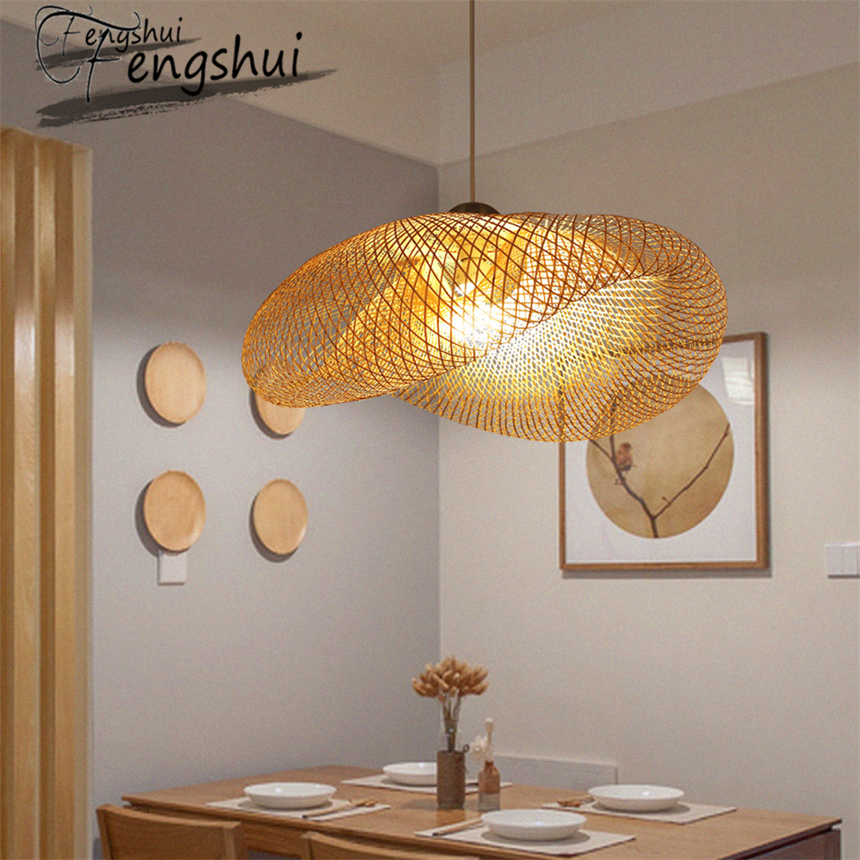 Modern Bamboo lamp Art pendant light lighting Restaurant Hotel Rattan pendant lamp for living room hanging lamp kitchen fixtures