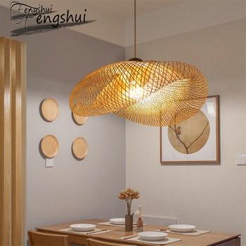 цена Modern Bamboo lamp Art pendant light lighting Restaurant Hotel Rattan pendant lamp for living room hanging lamp kitchen fixtures онлайн в 2017 году