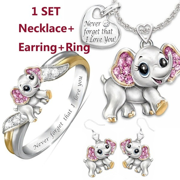"""""""Never Forget I Love You"""" Silver Cute Pink Elephant Crystal Zircon Engagement Ring Necklace Lover's Gift Anniversary Jewelry Set"""