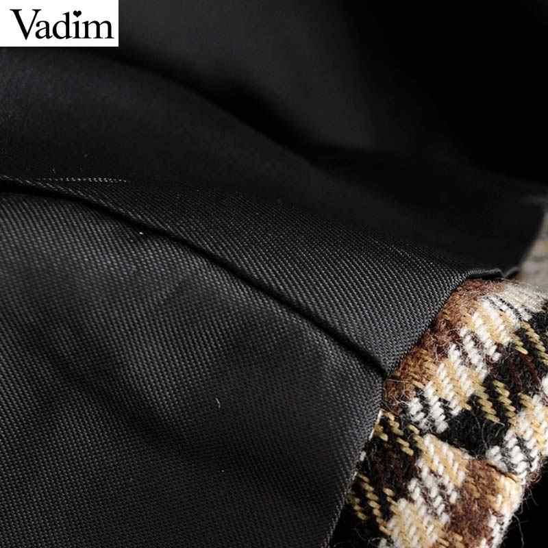 Vadim kadın moda tüvit balıksırtı blazer çentikli yaka uzun kollu cepler mont resmi ofis giyim şık üstleri CA623
