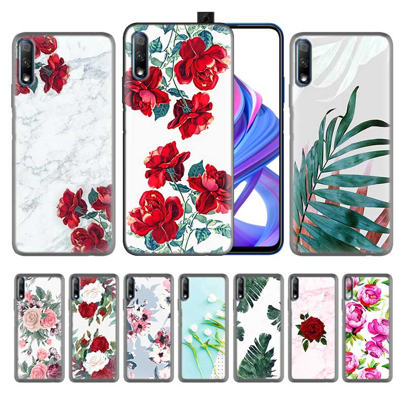 Black Silicone Case for Huawei P Smart Plus Z Honor 8X 9X 10 20 Lite Pro 2019 Coque Fundas Covers Shells Falls white marble flow image