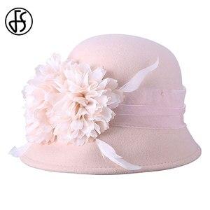 Image 5 - FS Wedding Hat For Women Elegant Pink Fedoras Flowers Wide Brim Wool Felt Vintage Ladies Cloche Hats Bowler Derby Hats