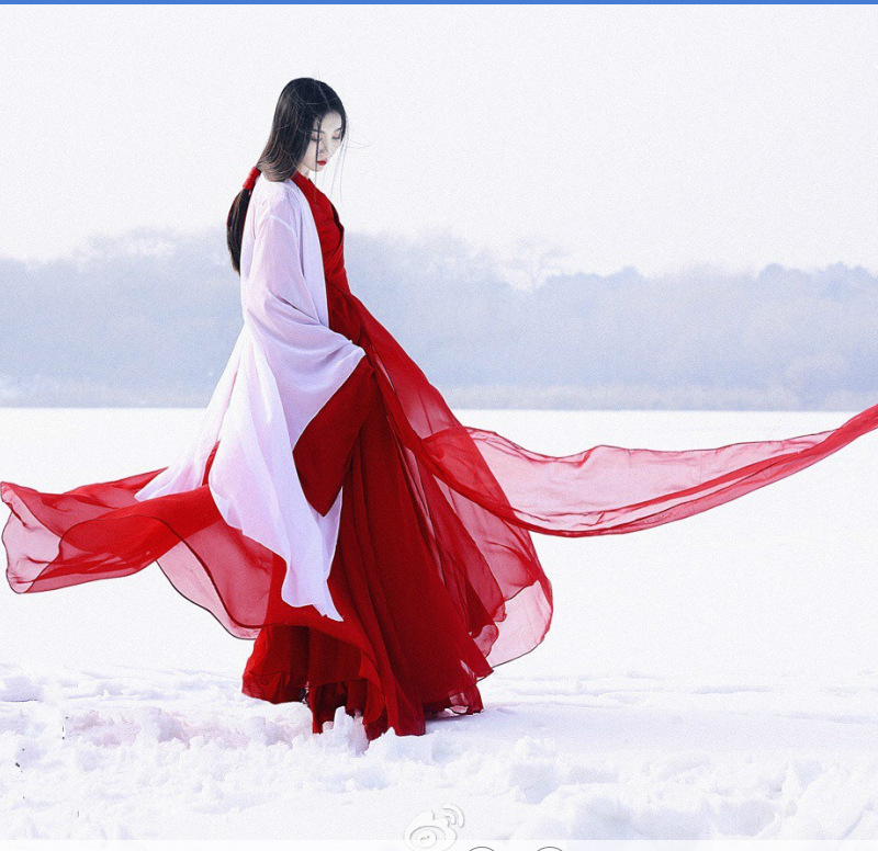 Hot Sale Costume Hanfu Female Winter New Engraved Large-sleeved Shirt Red Yan Jin Jin Wind Waist Skirt Costume Baju Hanfu