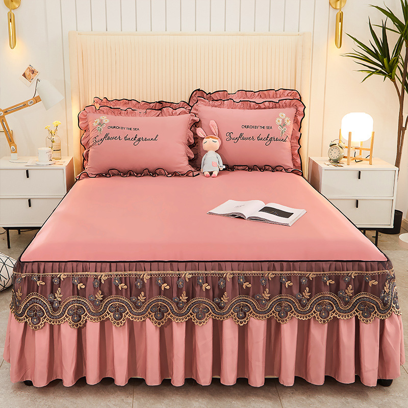 European Style Bed Spread Soft Lace Bed Skirt Bed Protective Cover Embroidery Adjustable Queen Bed Bed Cover Home Textiles