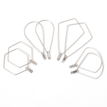 20pcs Ear Wire Pendant Charms Big Frame Stainless Steel Geometric Waterdrop Earring Loop Hooks Connector for DIY Jewelry Making